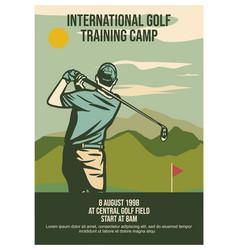 poster design international golf training camp 8 vector image