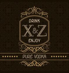 pure vodka label design template patterned vector image