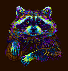 Raccoon abstract portrait a vector