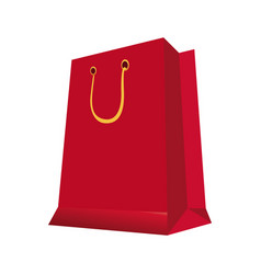Red paper gift bag shopping image vector