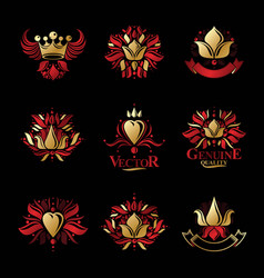 Royal symbols flowers floral and crowns emblems vector