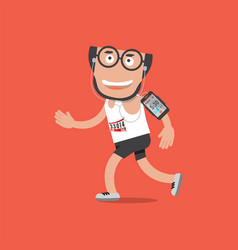 Running man with earphones and smartphone vector