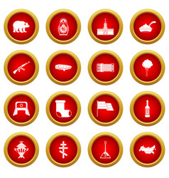 Russia icon red circle set vector