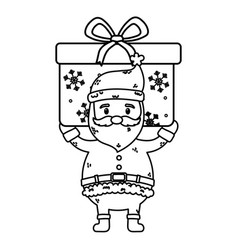 santa carrying big gift celebration merry vector image