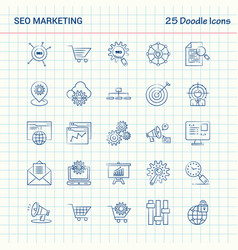 Seo marketing 25 doodle icons hand drawn business vector