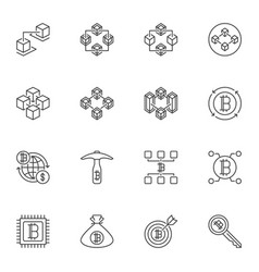 set blockchain technology outline icons vector image
