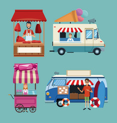 set of business booths vector image