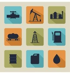 Set of icons with oil vector image