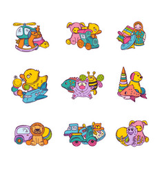 set of kid toys piles vector image