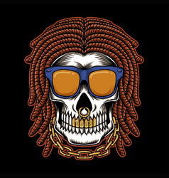 skull dreadlocks head vector image