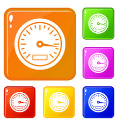 Speedometer icons set color vector