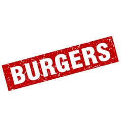 Square grunge red burgers stamp vector