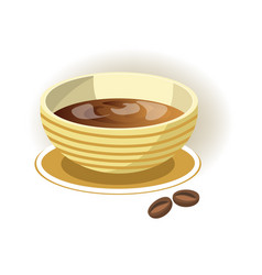 striped bowl on saucer with delicious coffee vector image