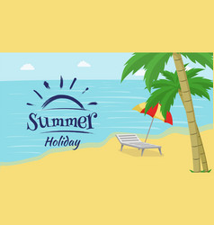 summer recreation flat banner seaside vector image