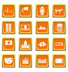 switzerland icons set orange vector image