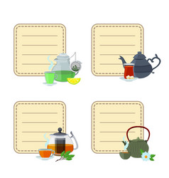 tea kettles and cups stickers vector image