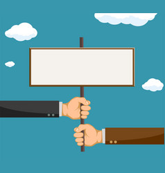 Two businessmen holding a blank sign vector