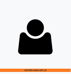 user icon in trendy flat monochrome black style vector image