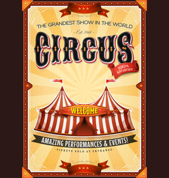 Vintage grand circus poster with marquee vector
