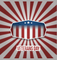 Vintage label with veterans day text vector