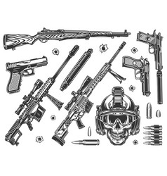 vintage military elements monochrome set vector image