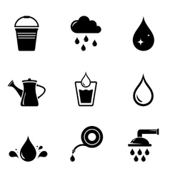 Watering isolated silhouette set vector