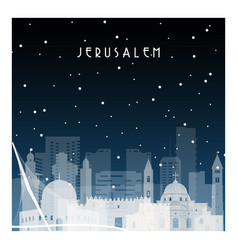 winter night in jerusalem night city vector image