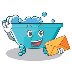 With envelope bathtub character cartoon style vector