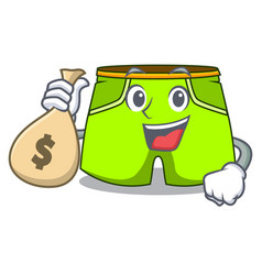 With money bag character style short pant for vector