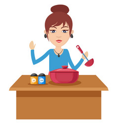 woman cooking on white background vector image