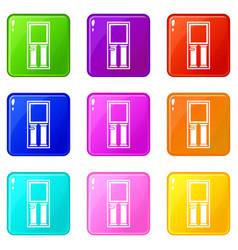 wooden door with glass icons 9 set vector image vector image