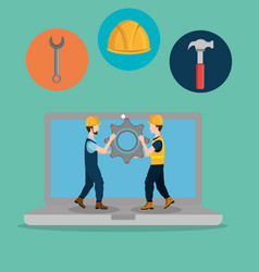 Workers under construction with laptop vector