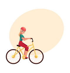 young pretty blond woman girl riding a bicycle vector image