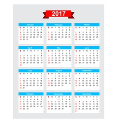 2017 calendar week start sunday vector image