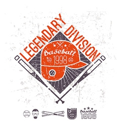 Emblem baseball legendary division of college vector image vector image