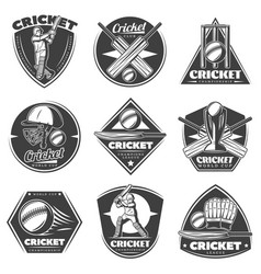 monochrome vintage cricket sport labels set vector image vector image