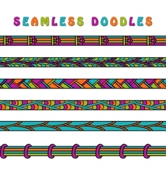 Colored seamless doodle border line vector image vector image