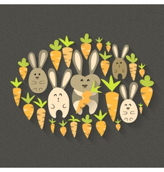 Eastern rabbits and carrots set icons vector image vector image