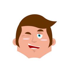 guy winking emoji boy happy emotion isolated vector image
