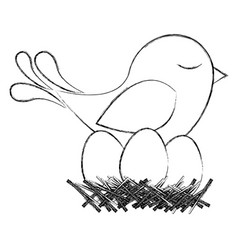 monochrome sketch of bird in nest with eggs vector image