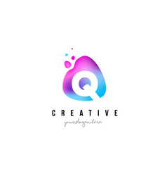 q letter dots logo design with oval shape vector image vector image