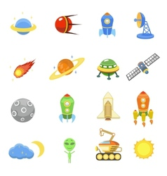 Space icons set of rocket galaxy planet ufo vector image