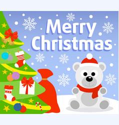 christmas background card with polar bear vector image vector image