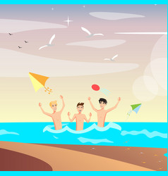 group of happy young people on beach vector image