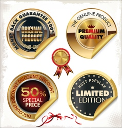 Set of golden PREMIUM quality labels vector image vector image