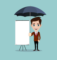 young men with a poster and umbrella vector image