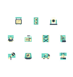 festival stage flat color icons set vector image vector image