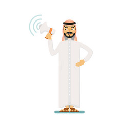 muslim businessman character with megaphone vector image