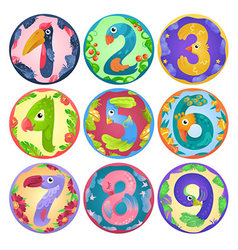 Stickers from numbers like birds in fairy style vector image