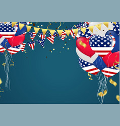 4th july usa independence day balloons triangular vector